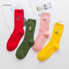 Cute Cartoon Fruit socks Print Avocado Cherry Peach Girls Kawaii Socks meias Korean Harajuku Embroidery Pile Heap Funny Socks