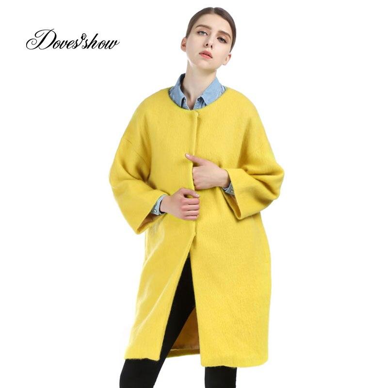 Frauen Gelb Mohair Kaschmir Wollmantel Frauen Winterjacke Mantel Weibliche Outwear Casaco Feminino-in Wolle & Mischungen aus Damenbekleidung bei  Gruppe 1