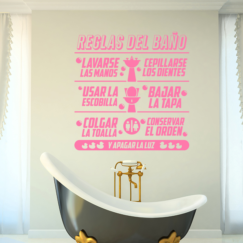 Art design bathroom rules in spanish kids quote wall sticker home decor vinyl toilte wall decals family quotes for bathroom in wall stickers from home