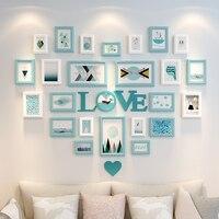 Фоторамки для фото декоративные настенные рамы деревянные стене висит кадров набор декор дома 25 шт. сердце Форма любовь стиль