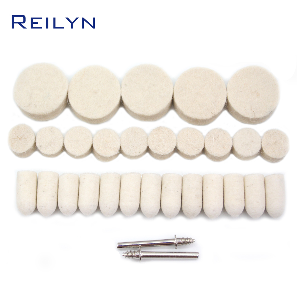 100pcs Wool Polishing Wheel Polishing Disc 25mm/13mm/9mm Buffing Round Wheel Shank 3.2mm For Dremel