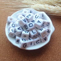 Factory Direct Sell 550PCS/lot Mixed A-Z 10*10MM White with Black Printing Plastic Acrylic Square Cube Alphabet Letter Beads