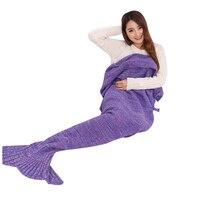Home Creative Hand Made Warm Knitted Mermaid Tail Shape Blanket Fashion Air Condition Soft Blanket Purple 90cm*50cm
