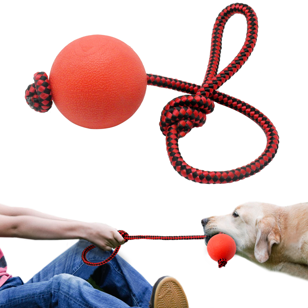 Solid Rubber Dog Chew Toys Pet Ball Tug Toy Tooth Cleaning