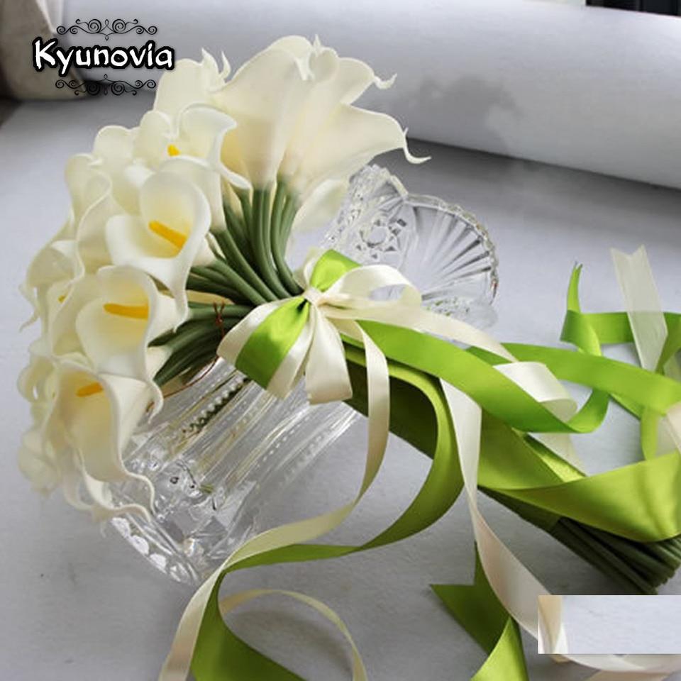 40pcs White Calla Lily Bouquet Lace Bouquet Wedding Flowers Bridal