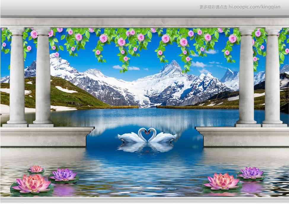 Customize Wallpaper Papel De Parede Fashion Roman Beautiful Scenery Snow 3d Mural Wall Paper In Wallpapers From Home Improvement On