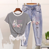2019 Spring and Summer Student Girls Bead Flower Stripes Short sleeved T shirt + Holes Denim Pants Two piece Women Jeans Suit