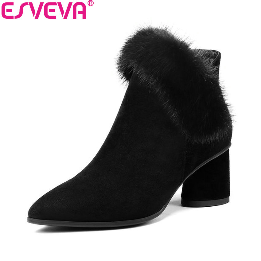 ESVEVA 2019 Women Shoes Kid Suede Zipper Ankle Boots Square High Heels Boots Pointed Toe Faux Fur Ladies Boots Shoes Size 34-42 esveva 2018 women boots cow leather suede out door buckle square high heels ankle boots pointed toe warm fur boots size 34 39