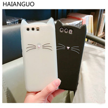 HAIANGUO 3D Cartoon Black Cat Ears Beard Soft Silicone Phone Case for Huawei P8 Lite 2017/P9/P10 Plus/Nova/ honor Rubber Cover