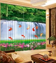 customize 3d curtains for living room Green forest waterfall fish 3d curtains blackout kitchen window curtains(China)