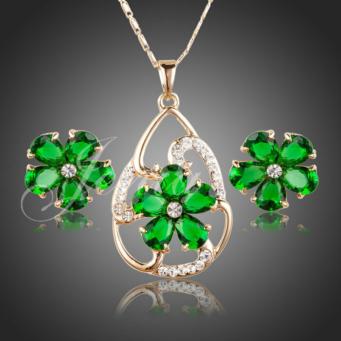Jenia Brand New Gold Color Green Stellux Crystal flower Earring Pendant Necklace Jewelry Sets for Charm