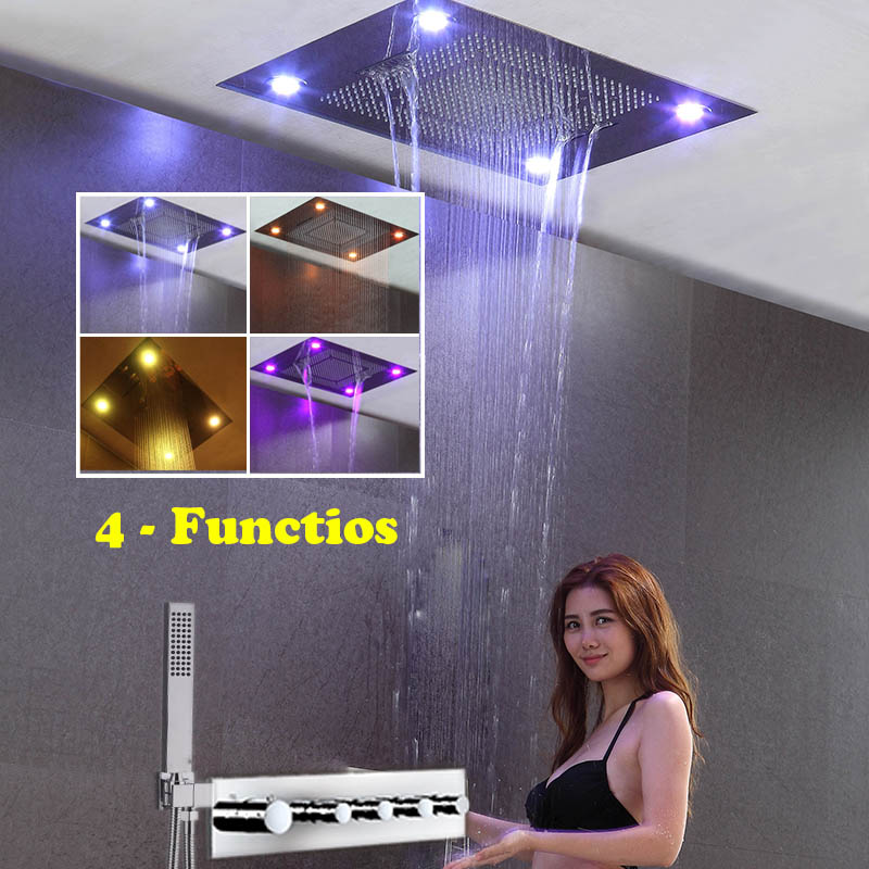 Rainfall Waterfall SPA Rain Curtain Shower Set 304 Large LED Shower Head Thermostatic Mixing Valve Master Villa Luxury Bathroom