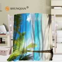 Custom Tropical Beach Pattern Travel Blanket Home TV Casual Relax for Family Soft Fluffy Warm Blanket