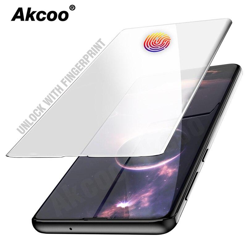 Akcoo S10 Plus desbloquear com fingerprint protetor de tela para Samsung Galaxy S8 9 nota 8 9 10 ALÉM De Vidro UV colagem de vidro temperado completa