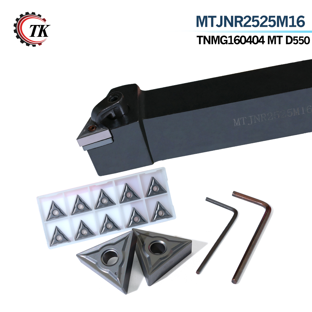10pcs TNMG160404 Carbide Inserts turning tool and 1pcs MTJNR2525M16 Turning Tool Holder and 1pcs Wrench CNC Turning Tool free shipping zccct cutting tools cnc turning tool inserts and tool holder 1 pack
