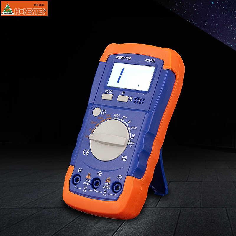 هانيتيك السعة الرقمية متر مكثف السعة الإلكترونية تستر LC الحث متر أداة تشخيص LCD الخلفية تلميح