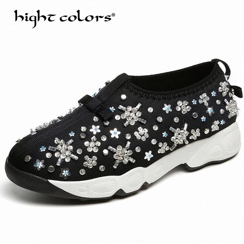 Size 34-40 Shoes Female Summer Handmade Mesh Shoes Embroidery Women Casual Flats Sequin Heavy-bottomed Shoes For Women rizabina concise women sneakers lady white shoes female butterfly cross strap flats shoes embroidery women footwear size 36 40