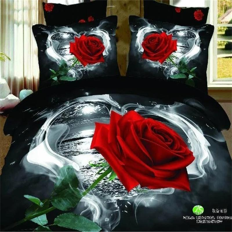 cotton 3d floral printed bed sheets