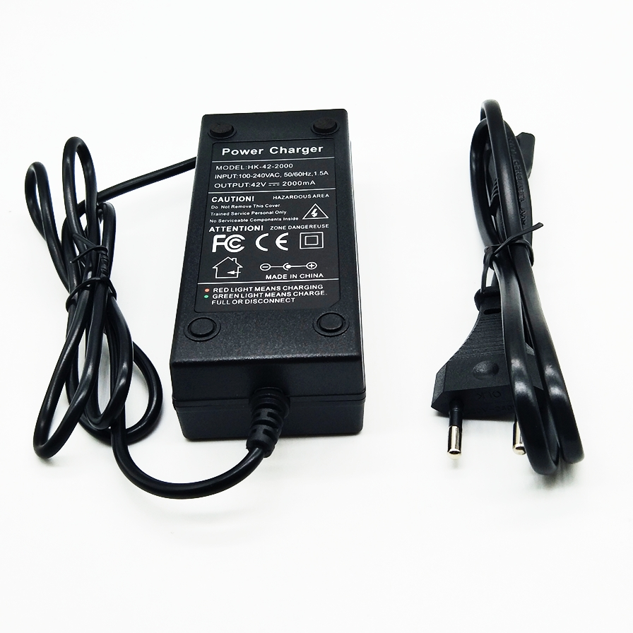 Nueva 36 V 2A cargador de batería salida 42 V 2A cargador de entrada 100-240 VAC Li-ion del litio poly cargador para 10 Serie 36 V bici eléctrica