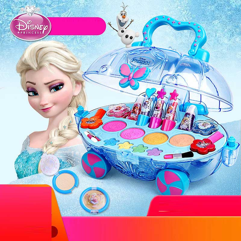 Disney Frozen elsa and anna Makeup car set Fashion Toys girls water soluble Beauty pretend play for kids birthday gift Girl Toy-in Beauty & Fashion Toys from Toys & Hobbies    1