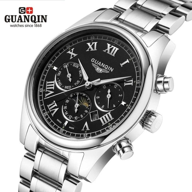 ФОТО 2016 GUANQIN Men Quartz Watches Roman Thin Quartz Watch 30m Waterproof High Quality Man Multifunction Week Display Wristwatch