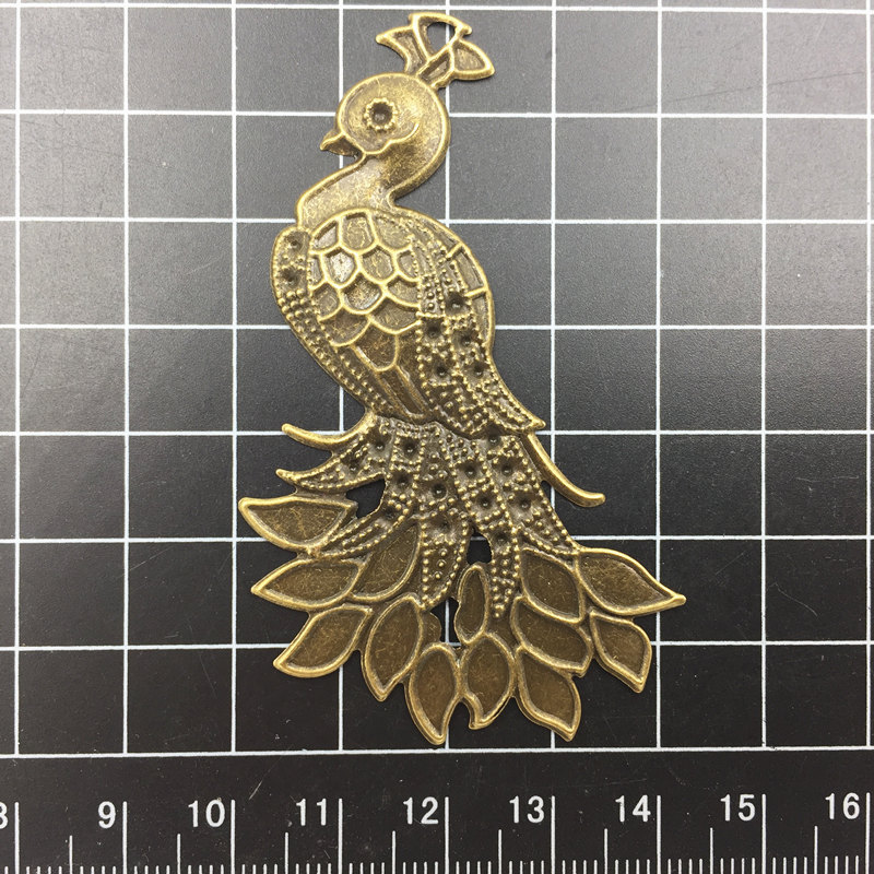 10Pcs Embelishment Connector Bronze Tone Peacock Animal Filigree Purse Bag Ornament Alloy Craft DIY Findings 7cm