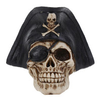 Craft Statues For Decoration Buccaneer Skull Head Creative Skull Figurines Sculpture Home Decoration Accessories Halloween