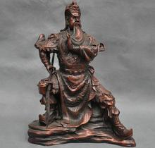 "free shipping S06965 10"" China Warrior Guan Gong Soldier Sword Dragon Bronze Statue"