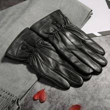 autumn Winter man gloves warm soft mens glove men mittens sheep hair lining Sheepskin Genuine leather