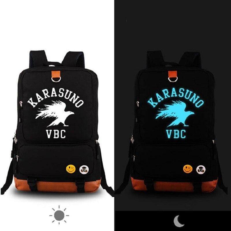 Mode lumineux Haikyu!! Sac à dos pour hommes femmes Polyester Anti voleur sacs d'école pour fille garçon étudiant mignon ordinateur portable sac à dos