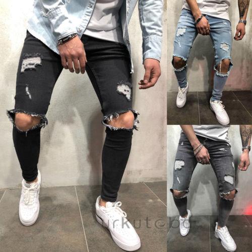77fc9a538c248 2018 New Hole Jean Men Skinny Pencil Pant Ripped Slim fit Stretch Denim  Distress Frayed Biker Casual Jeans Boys Plus Size S-3XL