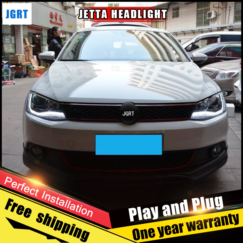 2PCS Car Style LED headlights for vw Jetta 2011-2015 for Jetta head lamp LED DRL Lens Double Beam H7 HID Xenon bi xenon lens 2pcs car style led headlights for vw polo 2011 2017 for vw polo head lamp lens double beam h7 hid xenon bi xenon lens