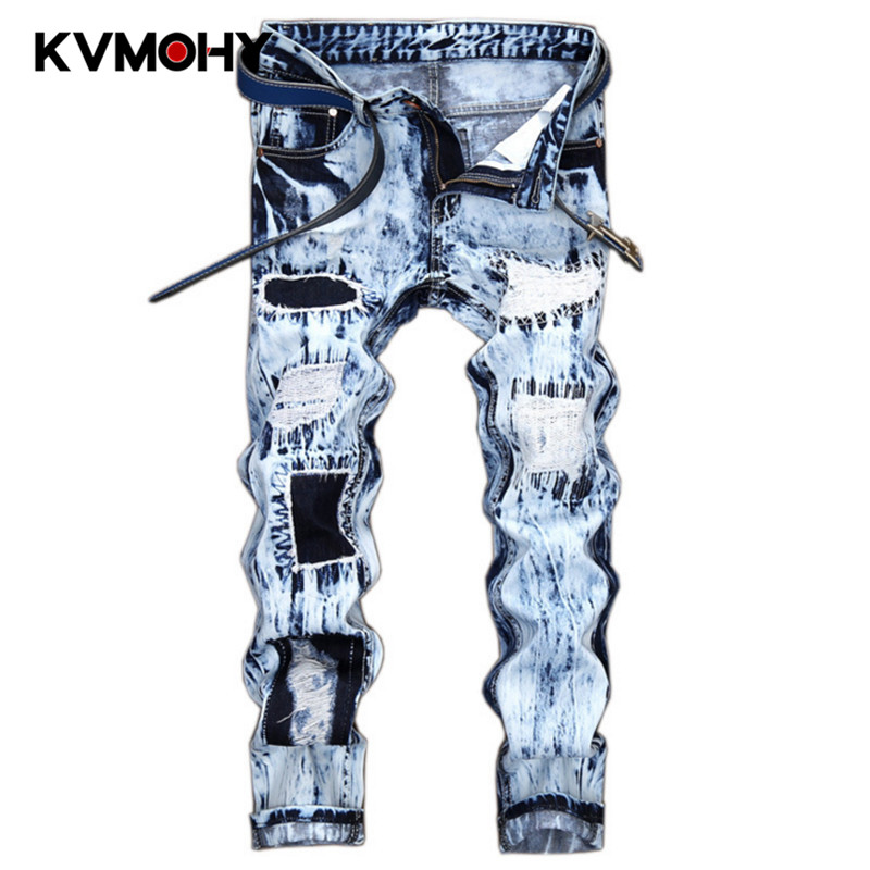 Men Jeans Hip Hop New Skinny Pants Mens Stretched Ripped Jeans With Zippers Slim Jean Mens Joggers Trousers Streetwear