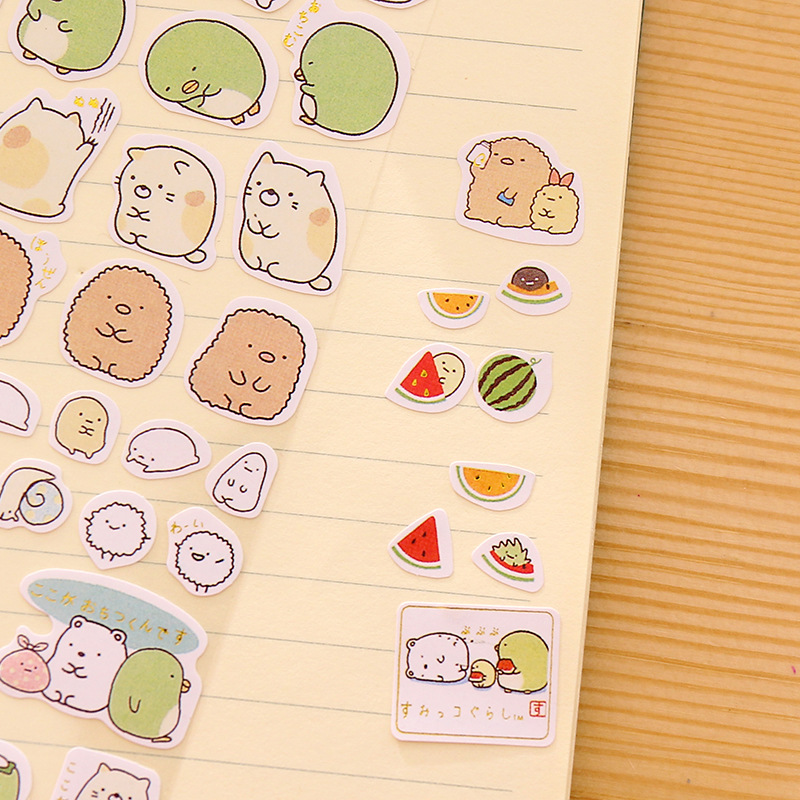 8 pcs/Lot Kawaii animal sticker Sumikko gurashi penguin bear paper stickers for letter frame scrapbooking tools Stationery F142
