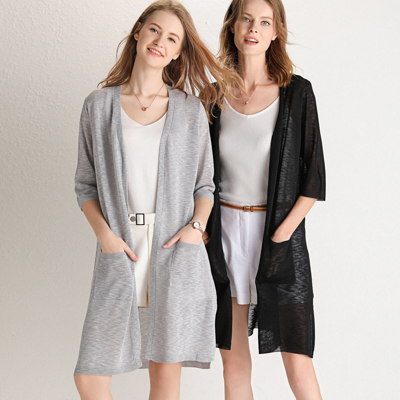 2019 Summer Long Women Blouses With Pockets Short Sleeve Silk Knit Kimono Cardigan Side Split Tops Blusas Air Conditioner Shirt