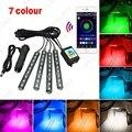 4pcs/set Car Blutooth APP Intelligent Control Decorative LED Atmosphere Neon Light RGB Car Interior Footwell Light #FD-4561