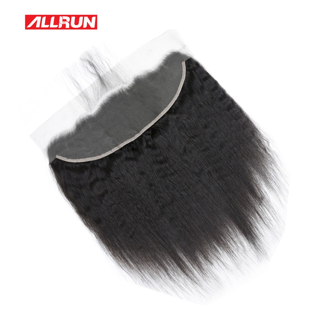 ALLRUN Brazilian Kinky Straight 13*4 Ear To Ear Lace Frontal Closure 100% Free Part Non Remy Human Hair Closure With Baby Hair