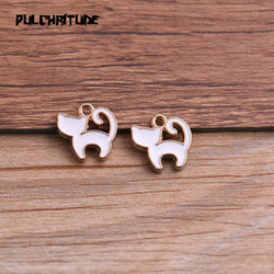 10pcs 13*13mm Alloy Metal Drop Oil Animal White Small Cat Charms Pendant For DIY Bracelet Necklace Jewelry Making