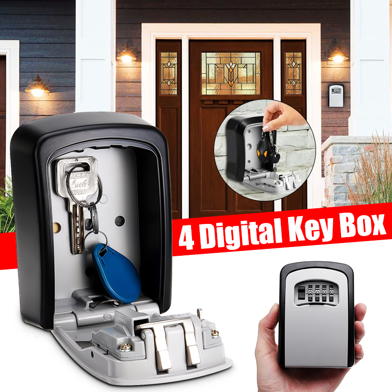 Safe Key Box Wall Mounted 4 Password Keys Combination Lock Metal Alloy Storage Store Key Storage Organizer Security Lock Boxes