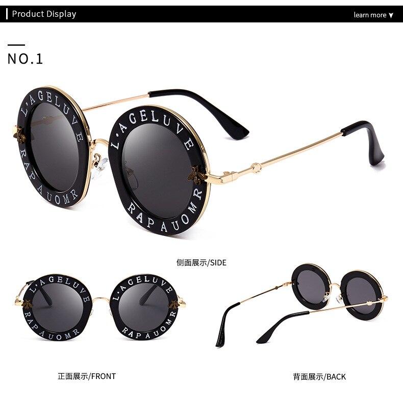 2018 gafas de sol redondas pequeñas GG mujer Retro moda Rosa espejo lente  inglés letras marco damas Gafas Sol gafas. 1 2 3 4 ... 6c0e18d8f603