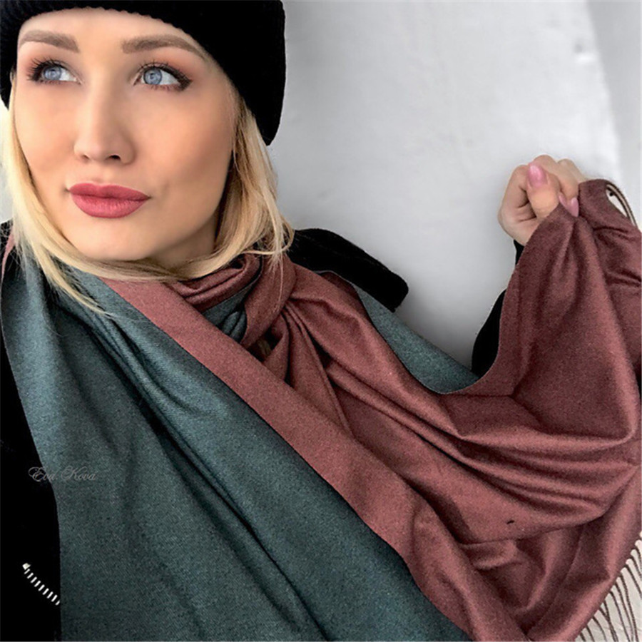8482a294d Detail Feedback Questions about [Lakysilk]Scarf Women Cashmere Warm Thick  Soft Shawls&Wrap Ladies Luxury Brand Tassel Pashmina Winter Elegant Design  Two ...