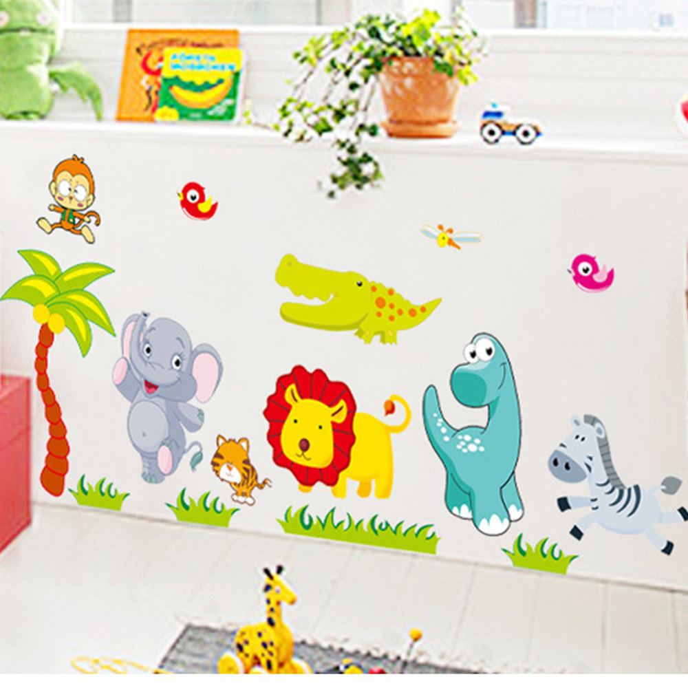Home amp garden gt home improvement gt building amp hardware gt wallpaper - Cartoon Jungle Wild Animals Diy 3d Vintage Wallpaper Vinyl Wall Stickers For Kids Rooms Child Wall