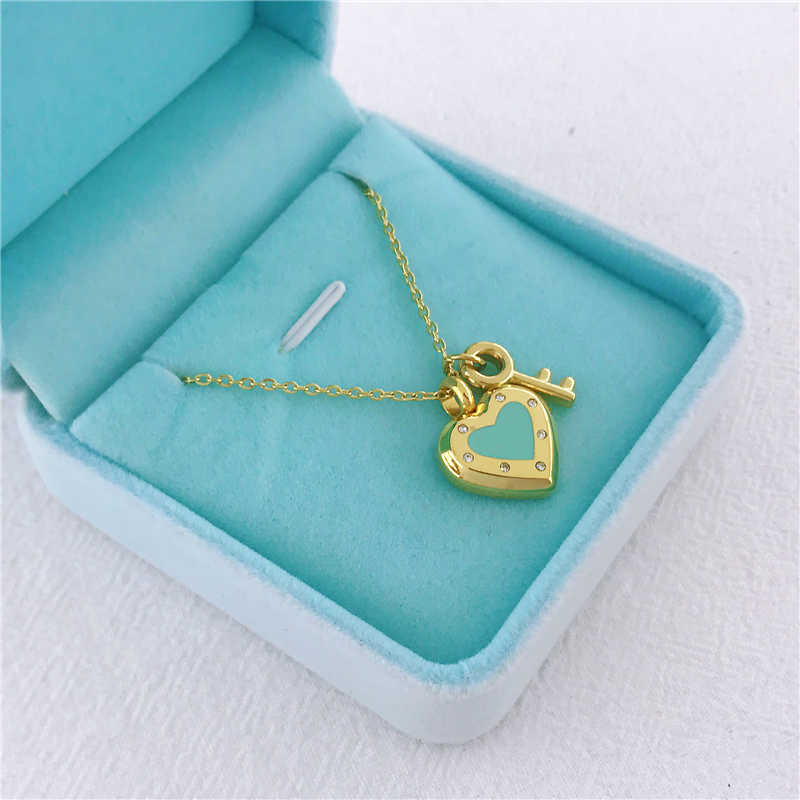 New Tiff Gold Silver Classic Collarbone Chain Original Heart Key Colored Enamel Lucky Necklace Pendant Jewelry Fashion Lady