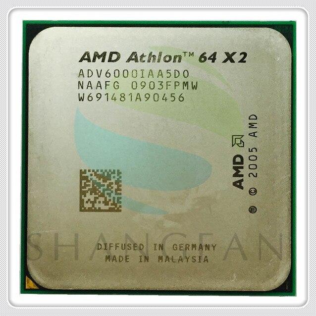 AMD De Bureau CPU Athlon X2 6000X2 6000 + 3.1 GHz ADV6000IAA5DO Dual-Core CPU Processeur Socket AM2 940pin