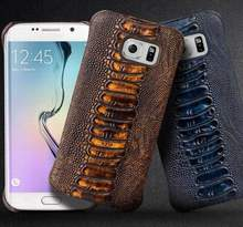 QIALINO Luxury Genuine Leather Phone Case for Samsung Galaxy S6 & S6 edge plus Ostrich Leg Texture Bag Back Cover 5.1/5.7 inches(China)