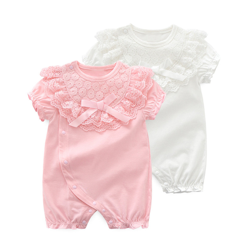 Cotton Baby Girl Romper Bow Lace Newborn Baby Rompers Girls Princess Party New Born Baby Clothes First Birthday Baby Jumpsuit