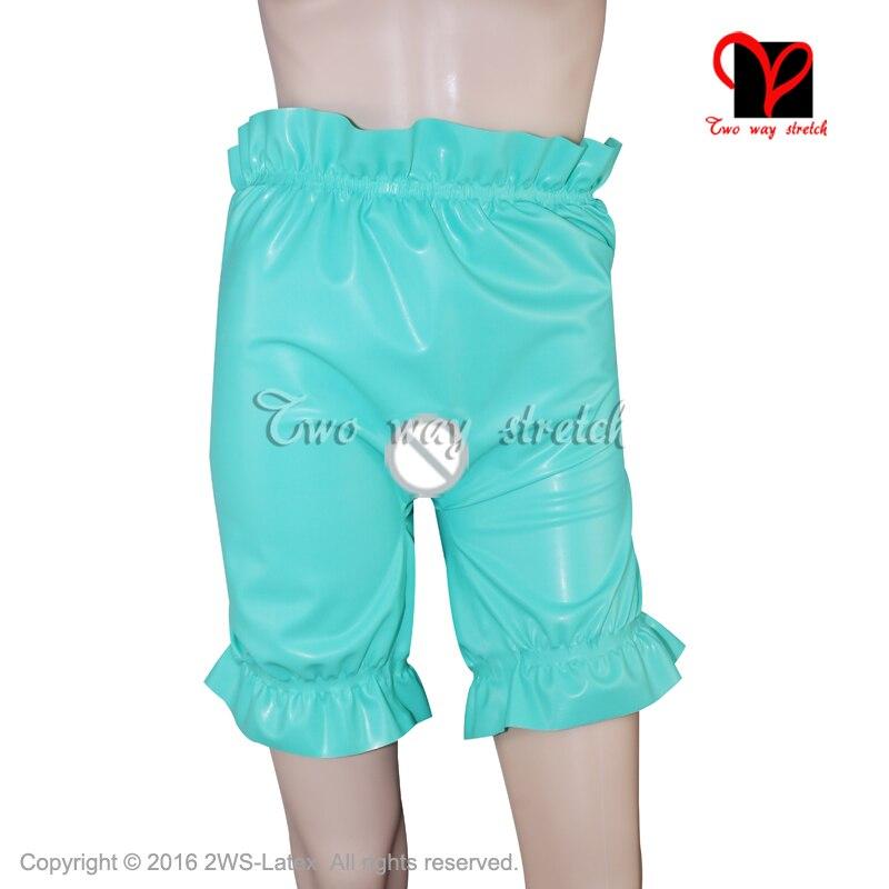 Sexy Latex bloomers ouvert entrejambe Hotpants bandes élastiques short en caoutchouc culotte Gummi pantalon à volants bébé Pantaloons couche KZ-136