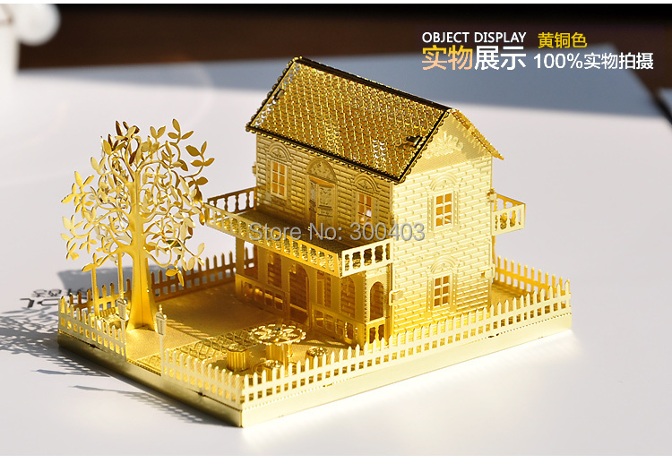 metal diy 3d mini villa decoration assembling building architectural