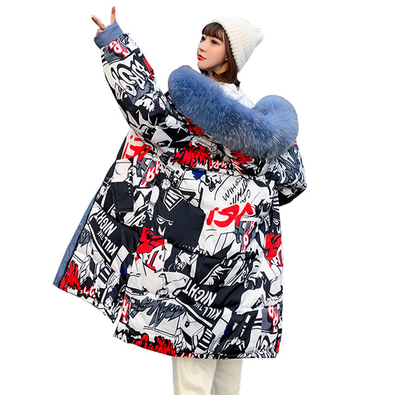 2019 Winter Jacket Women Long Print Hooded Winter Coat Cotton Padded Female Outwear Parkas