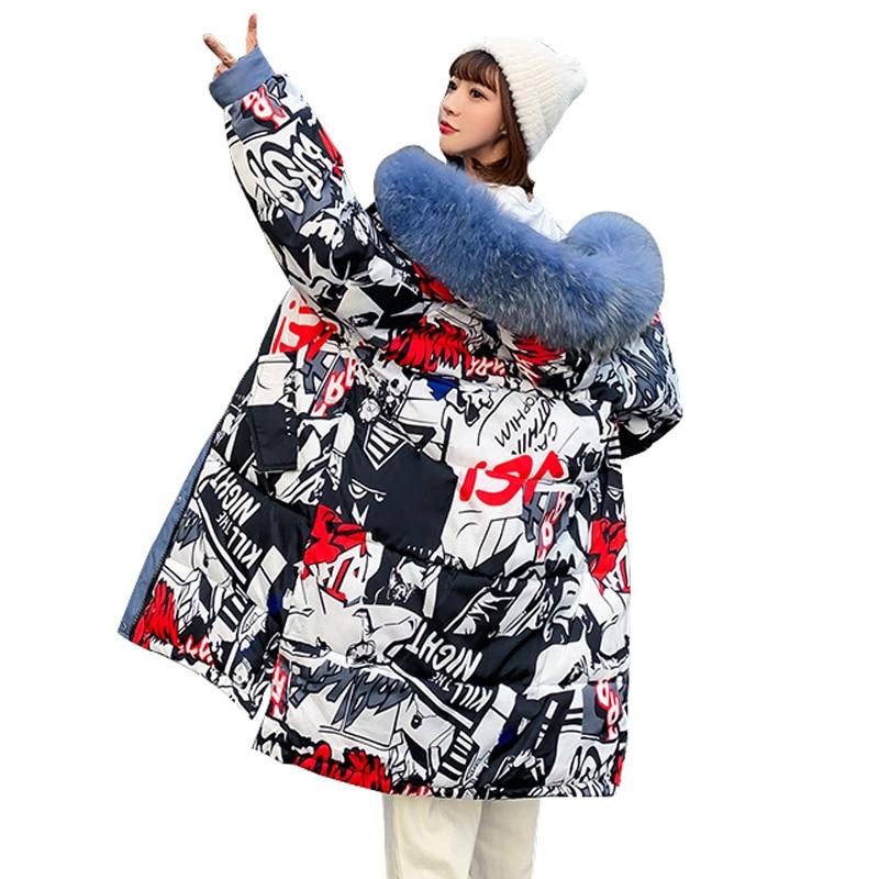 2019 Winter Jacket Women Long Print Hooded Winter Coat Cotton Padded Female Outwear Parkas